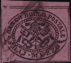 Papal State, stamp from 1852 - Bright lilac Half Bajocco stamp - Sassone No. 1e