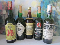 5 bottles - Park Gate 75 cl - J&B Rare 75 cl - Maxwell 75 cl - Seven Eleven 75 cl - William Lawson's 75 cl - 1970s