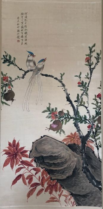 Hand painted scrolls painting, made after Yan Bolong - China - late 20th century