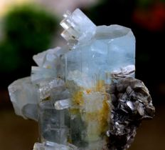 Terminated Complete & Undamaged Aquamarine Crystal Specimen with Mica - 73*62*43 mm - 169g