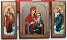 Icon - triptych in the middle of the icon of the Mother of God Iwerskaja to the left - Saint Archangel Michael,  right - Saint Archangel Gabriel.