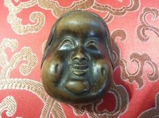 Wood netsuke of double-face noh masks of Okame and Hyottoko - unsigned - Japan - Second half 19th century