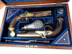 Pair of French Navy Officer pistols, 1º (first) Empire ( 1804-1814) transformed into percussion late 1830` under Restauration, in case.