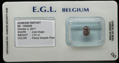 1.01 ct Certified Fancy Gr. Pink  Diamond  - LOW RESERVE