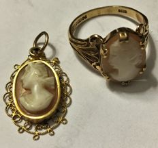 Gold cameo ring with decorated gold setting with a gold cameo pendant in filigree gold setting.