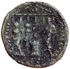 The Roman Empire - Domitian, as Caesar (81-96 AD) - Æ As (Copper, 29mm; 9,87g.), Rome mint c. 88 AD - Head of Domitian / Hexastyle temple - RIC 623; Cohen 85 - Rare