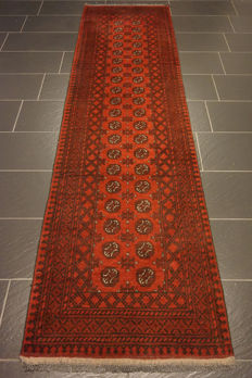 Wonderfully beautiful antique hand-knotted Art Deco Afghan oriental carpet, 80 x 300cm, Afghan, made in Afghanistan