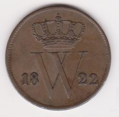 The Netherlands - 1 cent 1822 Utrecht, with low 2, Willem I - copper