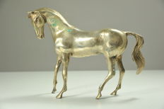 Horse statue with an inclined head - end 20th Century - silver-plated bronze