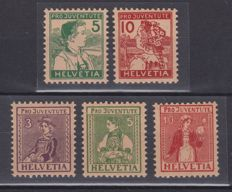 Switzerland, 1915/1917 – Pro Juventute – 2 complete series – Cantonal Customs – MNH