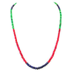 Ruby Emerald & Sapphire necklace with 18 kt (750/1000) gold Clasp, length 50cm-*No Reserve*