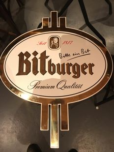 Bitburger enamel advertising sign