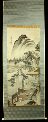 """Hanging scroll by Roku-u - """"Chinese Landscape"""" - Japan - late 20th century"""