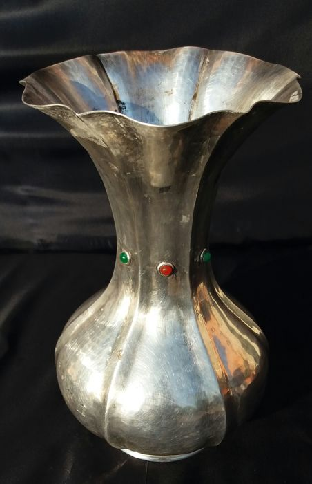 Silver plated vase decorated with semiprecious stones signed Stefani - Bologna, Italy - ca. 1900
