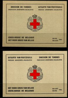 Belgium 1953 - Two Red Cross stamp booklets - OBP 914A / 914B