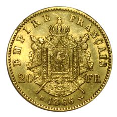 France - 20 Francs 1866 BB (Strasbourg) - Napoleon III - Gold