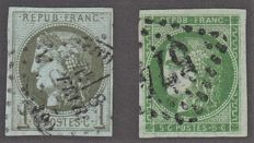 France 1870 - 1c olive and 5c green cancelled - Yvert no 39, 42B