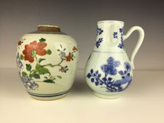 Porcelain jug blue-and-white and Famille Rose - China - 18th century