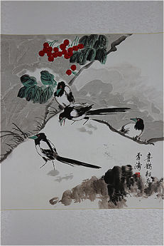 Hand-painted scroll painting with book (reproduction Wang Xuetao)《王雪涛-喜鹊报春》- China - late 20th century