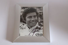 Nice framed image, personally signed by Giacomo Agostini