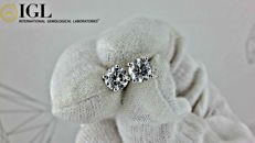 1.50 ct round diamond stud earrings 14 kt white gold *** NO RESERVE PRICE ***