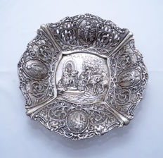 Serving Plate Tray - 800 Silver - Crescent & Moon - Angels - Germany - ca. 1940's