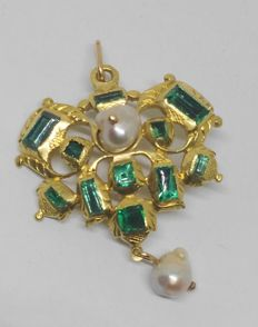 Vintage pendant and brooch in 18 kt yellow gold with 11 emeralds - 19th century