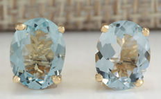 3.00 Carat Aquamarine 14K Solid Yellow Gold Stud Earrings - Face Measures: 9.00x7.00 Millimeters *** Free Shipping *** No Reserve ***