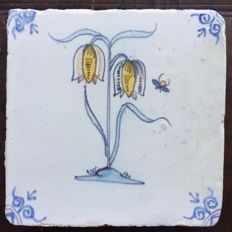 Tile with flower and insect, rare