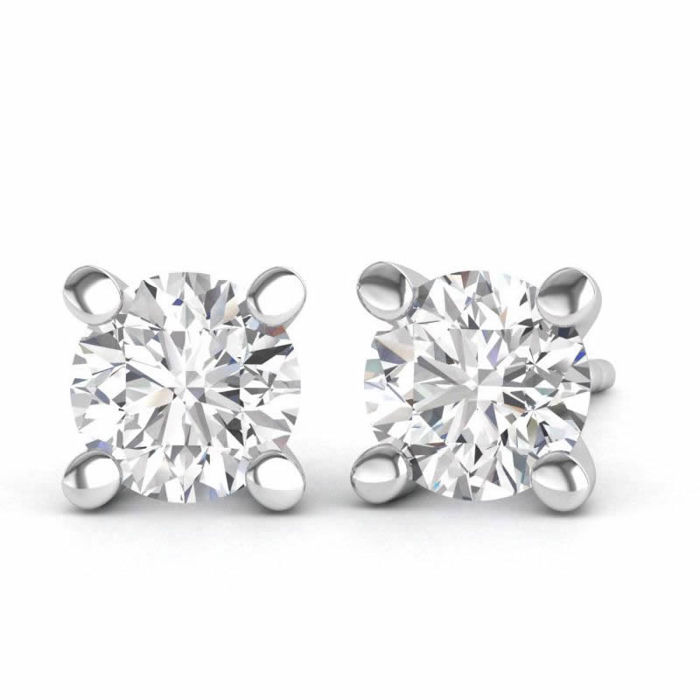 18 kt white gold earrings with 0.50 ct of brilliant cut F - G (fine white) / VS1 diamonds