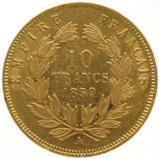 France - 10 Francs 1859 A Napoleon III - Gold