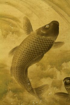 "Hanging scroll by Ogata Kaho ""小方華圃"" (ca. 1880-1925) - ""Twin Carp"" - Japan - ca. 1920 (Taisho Period) w/box"