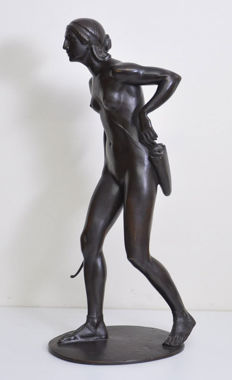 Paul Leibkuchler (1873-1938) - Diana, Goddess of hunting -patinated bronze sculpture