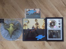 The Eagles Lot , A platinum effect framed cd & plectrum display & The Eagles metal sign ,Hotel California LP & The Eagles In Concert picture disc LP.