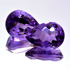 2 Amethysts - 11.27 ct (6.12 ct. + 5.15 ct. ) - No reserve price