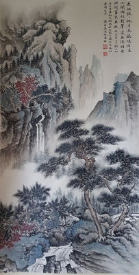 Hand-painted ink scroll painting《吴湖帆-山水》 - China - late 20th century