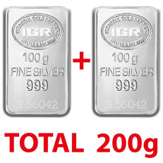2x100g  999 Fine  2 Silver  Bullion Bars , *** No  Reserve ***