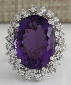 15.83 Carat Amethyst And Diamond Ring In 14K Solid White Gold *** Free Shipping *** No Reserve *** Free Resizing ***