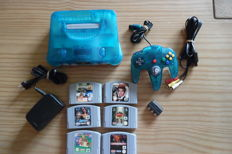 Nintendo 64 Limited Ice Blue complete including 6 games like Mario  + 007 + v rally + fighters + harvest ect