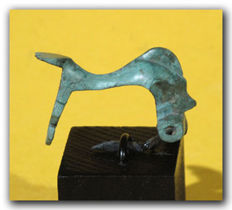 Roman Bronze Fibula, Diving Dolphin, 3.5 cm