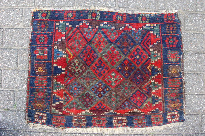 Antique tribal Jaff Kurdish bag front, NW Persia, 82 x 62 cm