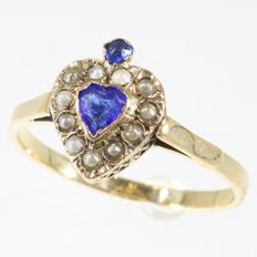 Antique Victorian love ring with blue stones and pearls - circa 1880 - No reserve price-
