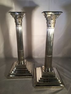 Silver candle stands, Israel Sigmond Greenberg, Birmingham, 1905