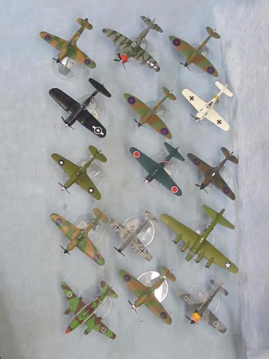 15 assorted Corgi 1:72nd scale model diecast aircraft complete with stands.