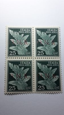Italy 1943 - RSI - 25 cents dark green with 'G.N.R.' overprint, block of four with offset markings - Sass.  No. 117d