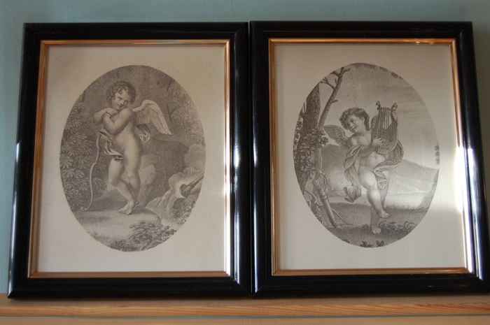 Two Angel scenes - Oval engravings - France - second half of the 20th century