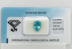 Blue Zircon  - 3.90 ct  *** No Reserve ***