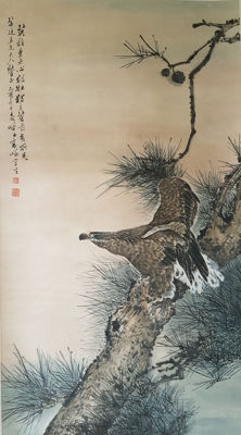 A Hand-painted scroll painting《高奇峰-松鹰图》 - China - late 20th century