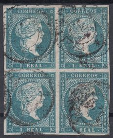 Spain 1856 - Isabel II, 1 real, blue. Paper with crossed lines filigree - Edifil No. 45