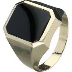 14 kt yellow gold men's ring set with Onyx - size 18.5 - NO RESERVE